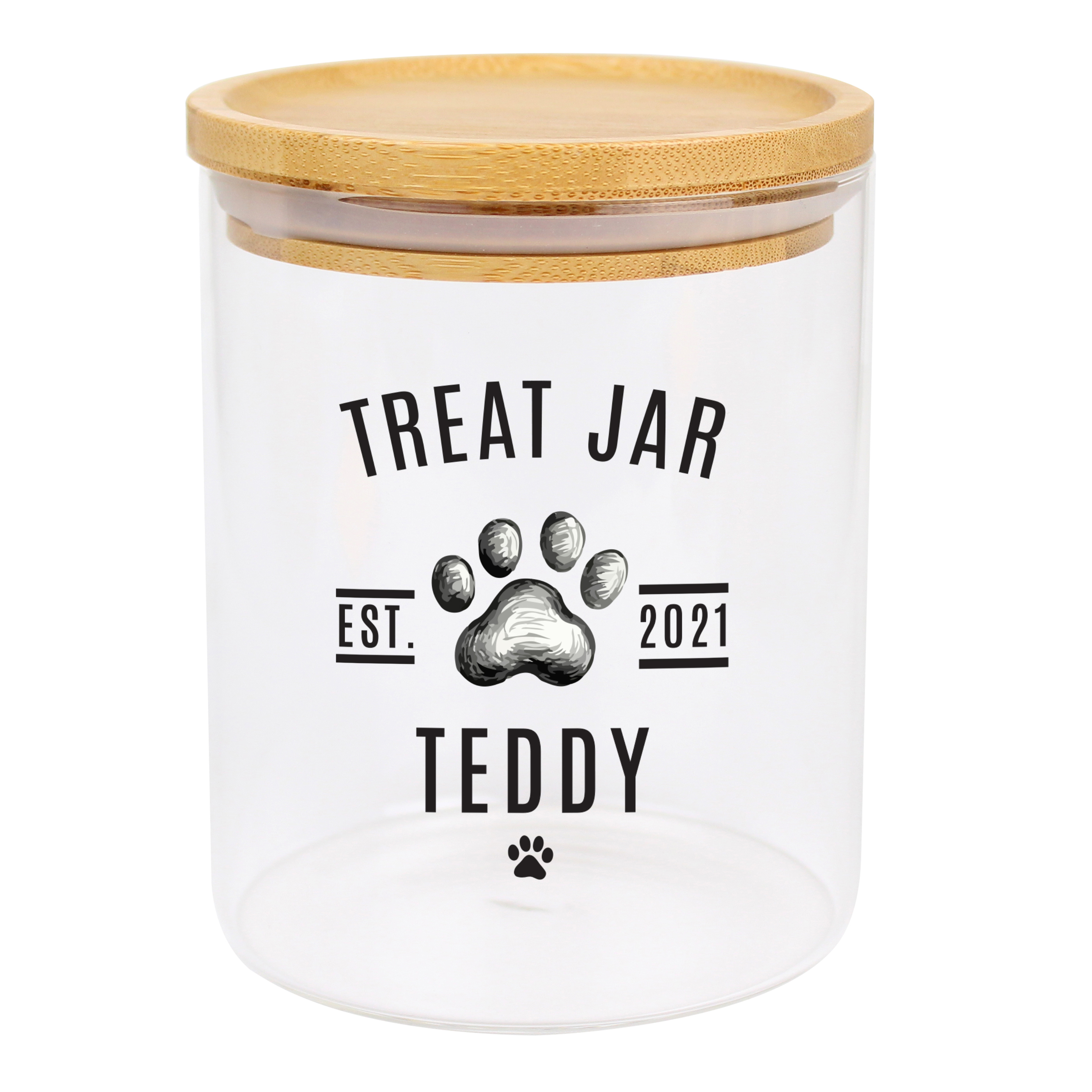 Personalised Pet Treats Glass Jar with Bamboo Lid