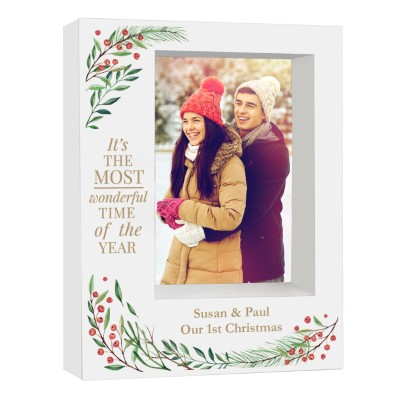 Personalised 'Wonderful Time of The Year Christmas' 7x5 Box Photo Frame